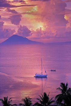 Stunning #sunset - sailboat, Pacific Ocean, Manado, North Sulawesi, Indonesia. MagicMurals