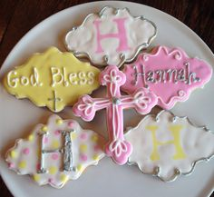 First Communion Cookies, crosses, personalized