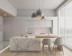 Cuisine meuble blanc mat, ilot marble clair. Touche de scandinave : bois et mobilier en tissus clair. Introduction d'objet métalissé.