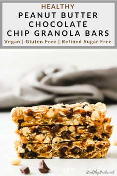 These healthy, homemade Granola Bars are super versatile and easily converted to AIP if certain items have been reintroduced. Other items like cocoa can substituted for cacao or omitted completely like the chocolate chips. Healthy Vegan Desserts, Delicious Vegan Recipes, Healthy Snacks, Vegan Appetizers, Vegan Food, Healthy Recipes, Healthy Granola Bars, Homemade Granola Bars, Vegan Granola