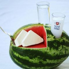 Raki (Anis snaps) , feta cheese & watermelon is a traditional snack in Turkey