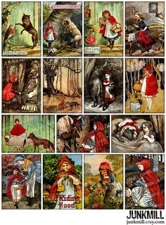 RED RIDING HOOD - Digital Printable Collage Sheet - Vintage Brothers Grimm Fairy Tale with Little Red Cap & Big Bad Wolf, Instant Download