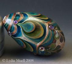 """Sacred Peacock"" Lampwork by Lydia Muell, Via:  http://www.lampworktreasures.com/albums/album_image/5591617/3557338.htm#"