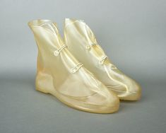 Vintage 60s Waterproof Rain Boot Galoshes | 1960s Clear Rubber Vinyl Shoe…