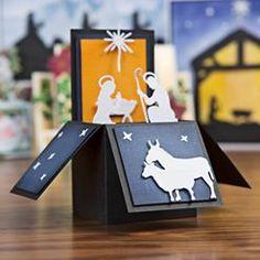 Boxed card Nativity scene