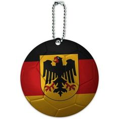 Germany with Crest Flag Soccer Ball Futbol Football Round Luggage ID Tag Card for Suitcase or Carry-On, Multicolor