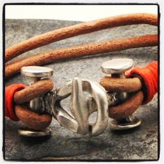 Leather metal bracelets