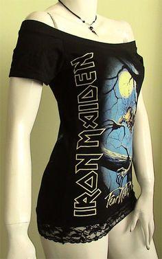 7de3a1de88b97 IRON MAIDEN Metal Fear of the dark DIY Women Top Shirt by obskura