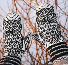 Night Owl Mittens Knitting Kit by Jorid Linvik Featuring Cloudborn Merino Superwash Sock Twist Yarn Easy Knitting Patterns, Knitting Kits, Fair Isle Knitting, Knitting Stitches, Knitting Projects, Knitting Supplies, Sewing Patterns, Mittens Pattern, Knit Mittens