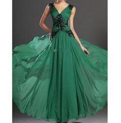 Dark green V-neck halter chiffon bridesmaid wedding dresses formal evening dress handmade beaded