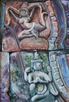 Gods at Angkor Wat, 3D textured painting by Bessie Ray @ www.etsy.com/shop/pegbessie