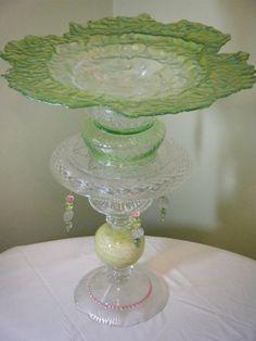 Uniquely Green Upcycled Glass Birdbath