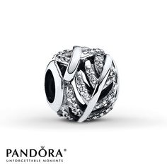 Pandora Feather Charm Clear CZ Sterling Silver