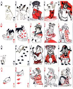 Pack of Dogs Playing Cards by Inky Dinky Cool Playing Cards, Deck Of Cards, Card Deck, Dog Art, Cute Drawings, Illustration Art, Girl Illustrations, Bunt, Collages