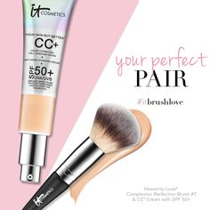 Apply your CC+ Cream SPF with the Heavenly Luxe Complexion Perfection Brush for an even application and a beautifully airbrushed finish. Makeup 101, Skin Makeup, Makeup Brushes, It Cosmetics Cc Cream, Airbrush Foundation, Avakin Life, Hydrating Serum, Beauty Hacks, Beauty Stuff