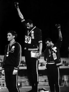 African American Track Star Tommie Smith, John Carlos After Winning Gold and Bronze Olympic Medal Premium Photographic Print at AllPosters.com