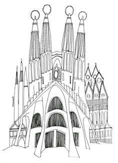 Gaudi, Map Art, School Stuff, Coloring Pages, World, Drawings, Books, Travel, Coloring Book Chance