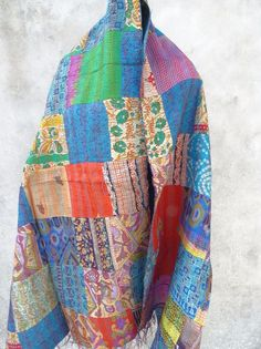 Girls Silk Kantha Stole, Kantha Silk Scarf, Vintage Silk Kantha Scarves, 104