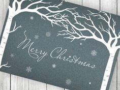 Birch Tree Christmas Card  Printable Winter Scene designed by Victoria of VGInvites www.vginvites.etsy.com