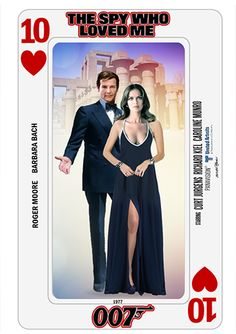 James Bond Playing Cards - series collage by PMitchell James Bond Movie Posters, James Bond Movies, James Bond Women, Barbara Moore, James Bond Party, Bond Series, Caroline Munro, Spy Who Loved Me, Roger Moore