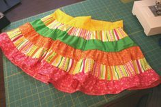 Tutorial for ruffle skirt, plus a skirt measurement calculation tool that gives you length & width for 1-6 tiers.