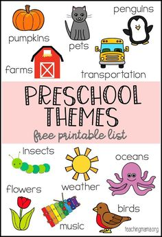 Themes Printable Preschool Themes Printable - a giant list of themes for preschool lessons. Over 80 ideas listed on a free printable.Preschool Themes Printable - a giant list of themes for preschool lessons. Over 80 ideas listed on a free printable. Preschool Lesson Plans, Preschool At Home, Free Preschool, Preschool Kindergarten, Preschool Worksheets, Toddler Preschool, Preschool Curriculum Free, Free Printables For Preschool, Preschool Classroom Themes