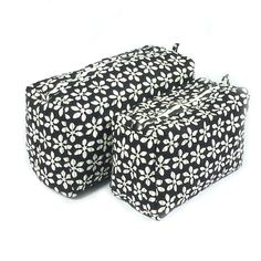 Cosmetic Bag, Set of 2 Cotton Quilted Black and White Block Printed SKU 7973 by Roopantaran on Etsy