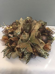 Holiday decor, Christmas centerpiece with candle, Brown Christmas wreath, Holiday centerpiece by DecoWreathBoutique on Etsy