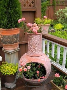 ~ Here's what to do when the fire pit bites the dust! Plant flowers! ~  Beautiful on porch!