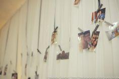 Varal com fotos. Uma idéia #fofa para #decoração. #casamento