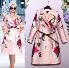 Romantic Floral Print Sweet Pink Trench Co