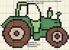 véhicule - tracteur - point de croix - cross stitch - Blog : http://broderiemimie44.canalblog.com/