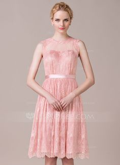 A-Line/Princess Scoop Neck Knee-Length Lace Bridesmaid Dress With Bow(s) (007059456) - JJsHouse
