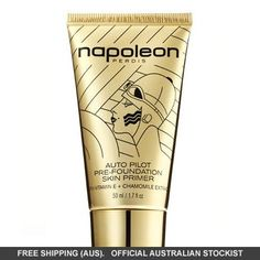 """Napoleon Says: """"Not to Prime is a Crime!"""" Auto Pilot Pre-Foundation Primer has gone gold! Same best-selling formula, but in gorgeous gold packaging. Finesse your foundation finish with Auto Pilot Pre-Foundation Skin Primer. Skin Primer, Foundation Primer, Makeup Primer, Face Primer, Foundation Application, Makeup Brushes, Makeup Masterclass, Pilot, Best Primer"""