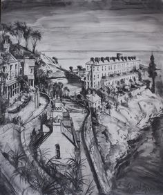 Sorrento Terrace, Dalkey, County Dublin, Ireland, charcoal on canvas, Gerard Byrne, www.gerardbyrneartist.com