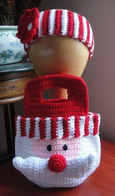Little Girl's Santa Christmas Purse Bag and Striped Headband with Flower Crochet Pattern
