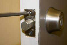 How to Remove a Deadbolt Door Knobs, Door Handles, Deadbolt Lock, Door Locks, Paper Clip, How To Remove, Hardware, Doors, Future