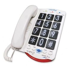 Universal Big Button Corded Phone High Definition Amplified Photo Phone for Family Home Adjustable Ringing Volume and Tone Controls White
