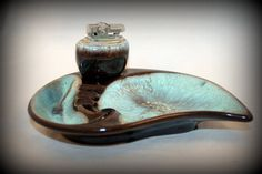 Vintage Ashtray With Lighter Teal and Brown RETRO Japan