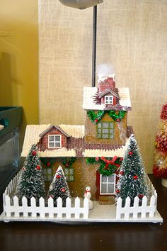 First Lady of the House: Glitter House Village Christmas Village Houses, Christmas Village Display, Putz Houses, Christmas Villages, Christmas Traditions, Christmas Decorations, Christmas Ornaments, Holiday Decor, Christmas Paper