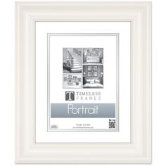 "Timeless Frames Lauren 8"" x 10"" Portrait Frame ($35) ❤ liked on Polyvore featuring home, home decor, frames, pure white, colored picture frames, portrait frames, portrait picture frames, colored frames and white picture frames"