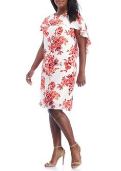 912a4526664 Madison Leigh Women s Plus Size Floral Printed Capelet Shift Dress -  Ivory Coral Multi -