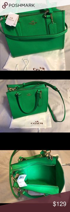 NWT authentic green leather purse New with tags authentic green coach leather purse measurements 7 H  X  9 L and 4 1/2 diameter Coach Bags Shoulder Bags