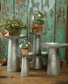Assorted Galvanized Metal Cake Plates Pedestals Garden Planters Plant Stands