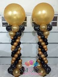 Gold And Black Balloon Columns With Topper Purple Decorations 60th Birthday Party Decor