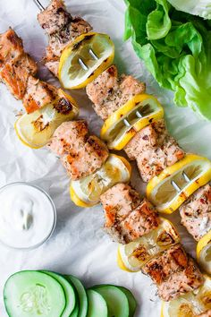 Grilled Greek Salmon Kebabs - Hungry by Nature - Seafood Recipes Salmon Recipes, Fish Recipes, Seafood Recipes, Dinner Recipes, Shish Kebab, Salmon Skewers, Grilled Skewers, Bbq Skewers, Grilling Recipes