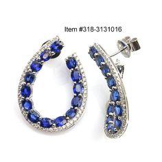 6.39 ctw Blue Sapphire Oval & 0.73 ctw Diamond 18K White Gold Earrings