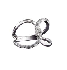 Sterling Silver CZ Infinity Ring: The Sterling Infinity Ring is a precious, prefect, forever symbol of endless love. Round CZ's set in sterling silver bands. 1/4 carat total diamond-weight equivalent CZ accents. Specially plated to resist tarnishing.