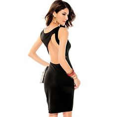 Charlie Cut-out Back Detail Mid Dress Black(Hip:90-104cm  Length:105cm) – USD $ 17.49