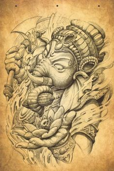 Ganesha, a destroyer and a liberator. Ganesha will destroy any obstacles in your way. Ganesha can be used to exorcise personal demons as well. Those pesky. Black Sleeve Tattoo, Egyptian Tattoo Sleeve, Sleeve Tattoos, Hand Tattoos, Ganesha Tattoo Lotus, Shiva Tattoo, Lotus Tattoo, Tattoo Ink, Japanese Tattoo Art